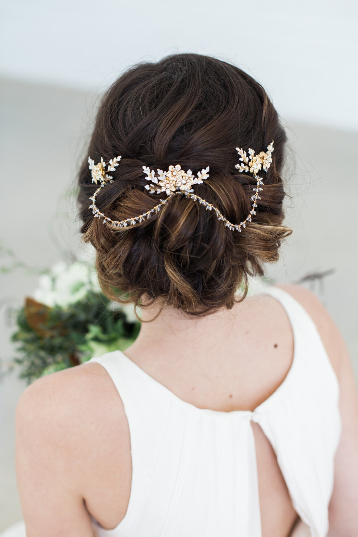 Gold Crystal Hair Chain Bridal Hair Jewelry Crystal Tiara