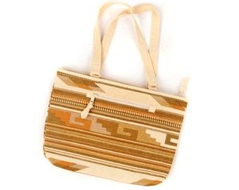 Vintage 1970's Cotton Canvas Nutral Tan Southwest Arrow Tapstery Hippie Boho Handbag Purse Bag