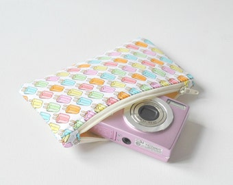 Padded gadget camera pouch mini make up bag Summer ice lolly print in pink,orange,blue and green