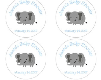 Personalized Baby Shower Favor Labels, Elephant Baby Shower Stickers in blue and gray, elephant baby shower decorations, baby boy