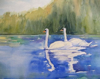 Watercolor Art Print Swans Watercolor Painting  Pond Lake Nature Art  CarlottasArt