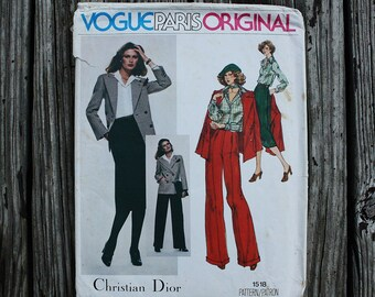 Vogue Paris Original Christian Dior 1518 1970s 70s Disco Era Pant Skirt Suit Double Breasted Jacket Vintage Sewing Pattern Size 10 Bust 32.5