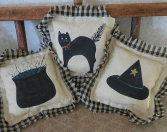 Primitive Folk Art Halloween Pillow Tucks Black Cat Cauldron Witch Hat Bowl Fillers