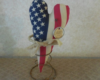Primitive Patriotic Flag Heart Nodder Rusty Spring Americana Red White Blue Summer