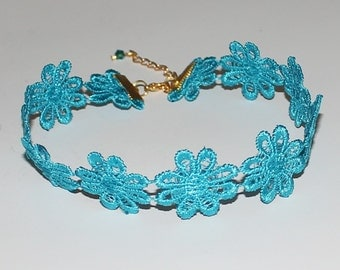 Lace Teal Flower Choker Necklace Music Festival Handmade