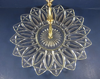 Vintage PETALWARE SNACKS SERVER Appetizer Tidbit Sandwich Federal Glass Petal Tray