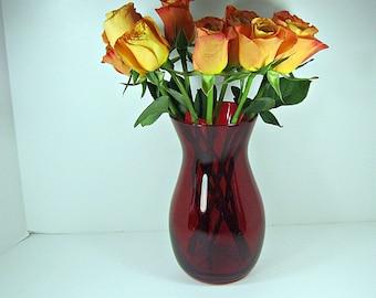 Vintage RED FLASH Flower VASE Rose Size Large Ruby Glass
