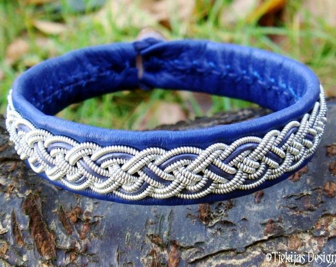 Nordic Viking Sami Bracelet NIFLHEIM Swedish Blue Lapland Reindeer Leather Bracelet with Spun Tin Thread Braid and Antler Closure