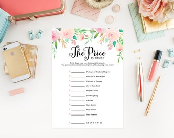 Instant Download - Spring Shower The Price is Right Baby Shower Cards