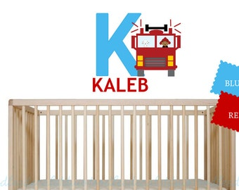 Kids African American Wall Fire Truck - Fabric Reusable Decals - Black Fireman Themed room - Boys Fire Truck Art - Name Wall Decal for Kids