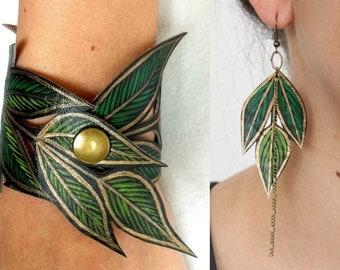 Leaf Jewelry Set, Handmade Bracelet & Earrings, Faux Leather Hand Painted, Gifts for her
