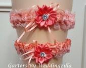 Lace Wedding Garter Set / Coral Bridal Garter /  Wedding Garter Belt/Peach Coral Garter Set/  Handmade Garter/ Caribbean Colors Garter Set