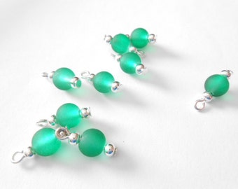 Frosted Green Dangle Beads