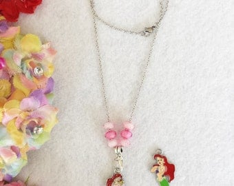 Interchangeable Necklace. Ariel, The Little Mermaid Pendants. Mermaid and Human Styles