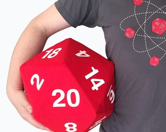 Custom Wedding Game Giant 12 in Plush D20 Dice - DnD Dungeon Master Gift - RPG - Pathfinder - Geeky Pillow - Plush Polyhedral - Stuffed D20