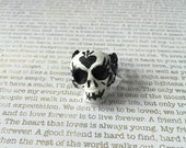 Sugar Skull Ring - OOAK Hand Painted Sugar Skull White And Black On A Black Filigree Adjustable Ring Band