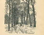 Vintage Print Arthur Rackham  Kensington Gardens Black and White Illustration Peter Pan