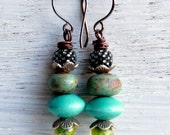Verdant Cairns - handmade stacked bead earrings in verdant green, aqua turquoise and silver, with lampwork glass and ceramics - Songbead UK