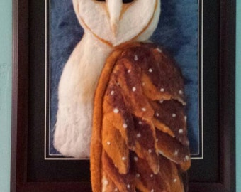 11x14 Needle felted Barn Owl Portrait with frame.