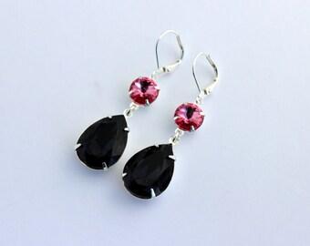 Swarovski Graphite earrings, pink earrings, Swarovski earrings, Pink and grey earrings, bridesmaid earrings, Grey and pink wedding, prom set