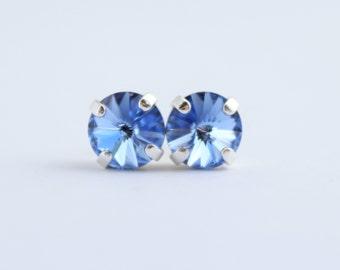 Swarovski light sapphire earrings, Swarovski earrings, silver and blue stud earrings, pale blue earrings, blue studs, light blue studs SLS01