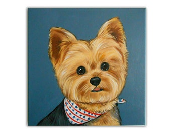 "12x12"" Custom Dog Portrait / Custom Pet Portrait -1 Pet Close-Up Solid background Yorkshire Terrier YorkieExample Art Acrylic Canvas"