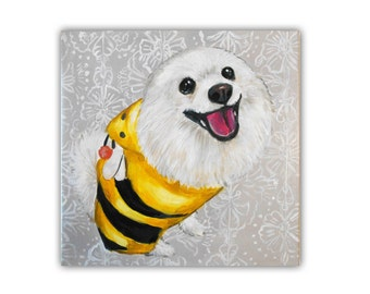"12x12x0.75"" Custom Dog Portrait / Custom Pet Portrait - 1 Pet Floral Damask background, Pomeranian American Eskimo Acrylic on Canvas"