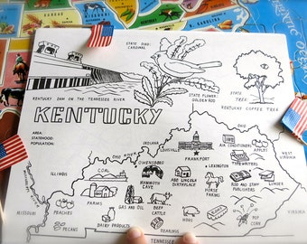 Vintage Kentucky State Map 1980s Kentucky Coloring Book Page Vintage Map Print State