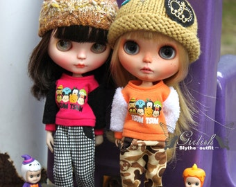 Girlish - TSUM TSUM Tee & Harmet Pants for Blythe doll - dress / outfit