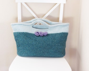 Felted Purse Pattern, Knit Bag Pattern, Knitted Purse, Knitting Pattern, Tote, Farmers Market Bag - Knitting Patterns by Deborah O'Leary