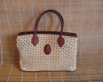 Vintage Tan Beige Straw Brown Leather Bag Zip Up Top  Hand Bag Purse