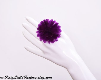 Translucent Purple PVC Pom Pom Ring Cyber Blossom