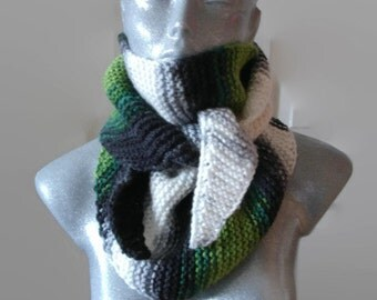Knitted Scarf Bactus Triangle Shaped  Green Grey Black White Extra Soft Wool Acrylic