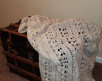 Afghan Blanket Of Cream and Brown Speckles Tweed Look Decor for Living Room Family Room or Bedroom 69 x 47