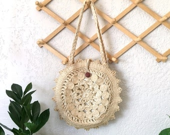 Boho Chic Woven Straw Raffia Round Shoulder Bag