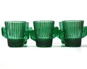 Vintage Green Cactus Shot Glass Cactus Shot Glass Southwestern Shot Glasses -Set of 6