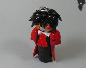 Alucard, Hellsing, Red Coat, Polymer Clay, Figures, Ornaments, Handmade, Anime Characters, Red and Black, Dracula, Vampire, Cute Figures