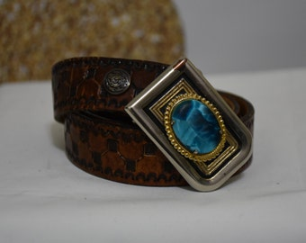 Vintage Tooled Leather Belt with Brass Belt Buckle and Turquoise Setting - Brown Leather Belt