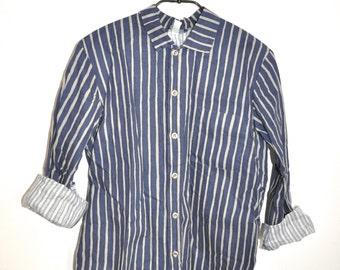 Vintage Marimekko Cotton Dress Navy and Tan Shirt Jokapoika Finland Vintage Textile