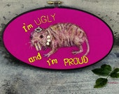 Naked mole rat, fiber painting, ugly and proud, fuchsia and black, unique art, ugly animals, weird curio, inspirational wall art