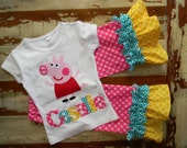 Peppa Pig Outfit, Short or Long Sleeved with Capris or Pants, 6-12m to 8 years
