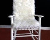 Rocking Chair Cushion - White Black Speckled Fur