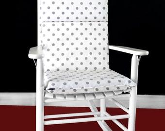 Rocking Chair Cushion Cover - White Grey Polka Dot