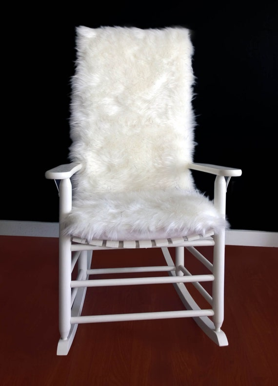 Rocking Chair Cushion White Black Speckled Fur