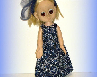 "Handmade Clothes for Vintage 15"" Little Miss No Name Doll, Navy Blue Bandana Maxi Dress and Hairbow, by traveller240"