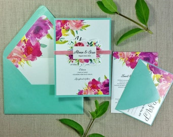 Beach Wedding Invitation - Destination Wedding Invitation - Floral Wedding Invitation - Wedding Invitation - TheFindSac  - SAMPLE -