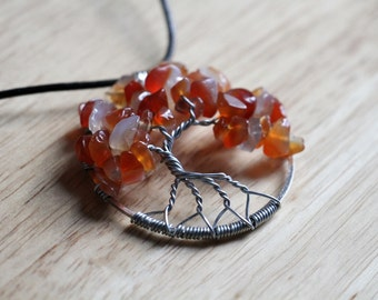 """Carnelian Tree of Life pendant / necklace - 45mm / 1.75"""" - with leather necklace"""