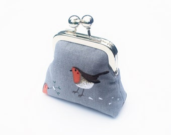 Coin Purse, Small Kiss Lock Snap Change Pouch, Canvas Fabric, Wild Birds, Grey
