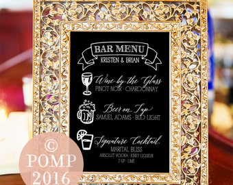 Printable Wedding Bar Menu -- Hand drawn Icons, Calligraphy, Illustration, Black White, Rustic, Chalk