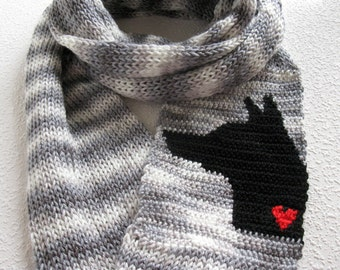 German Shepherd Infinity Scarf. Gray striped, knitted scarf with a German shepherd dog. Long knit infinity scarf. Knit dog scarf.